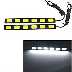 Carking Waterproof Aluminum 6-COB LED 9.6W White DRL Driving Daytime Running Light Lamp(2PCS)