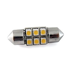 Festoon 31MM 6x3528 SMD 1W 40LM Led Car Reading Light White Warm White DC 12V (2 pieces)