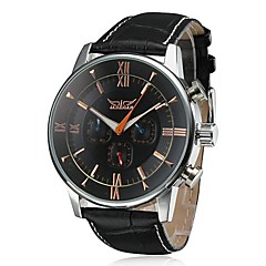 Men's Auto-Mechanical 6 Pointers Black Leather Band Wrist Watch (Assorted Colors) Cool Watch Unique Watch