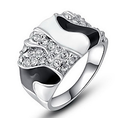 Roxi Exquisite Rose-Gold Plated Black And White Mosaic Rings(1 Pc)