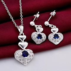 mode (hjerte design) forsølvet (inkluderer halskæde&ørering) indlagt zircon smykker sæt (1 sæt)