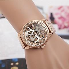 女性のファッションヒョウラインストーンのスチールベルトクォーツ腕時計(アソートカラー)