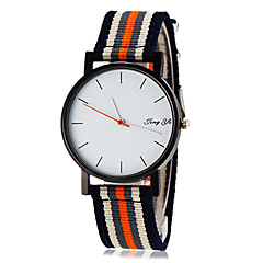 Men's Simple White Dial Stripe Fabric Band Quartz Wrist Watch (Assorted Colors)