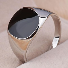 Vintage Contracted Alloy Square Black Oil Men's Statement Ring Jewelry