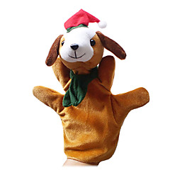 2PCS Christmas Dog Parent-child Hand&Finger Puppets Kids Talk Prop