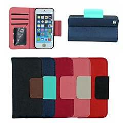 Oracle Stripe PU Leather Full Body Case Stand Cover with Card Holder for iPhone 5/5S(Assorted Colors)