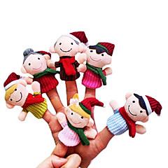6pcs de Noël de petite taille famille des marionnettes à doigt en peluche enfants parlent prop