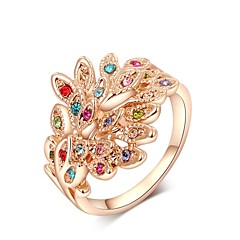 Colourful Small Pieces Simulated Diamond Austrian Crystals Rose/White Gold Plated Peacock Flaunting Its Tail Ring