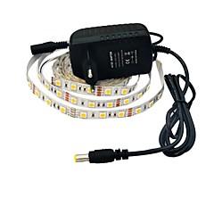 jiawen® 2.5m 12W 150x5050smd 6000-6500k hvite ledet fleksibel stripe lys + 2a makt (ac 110-240V)