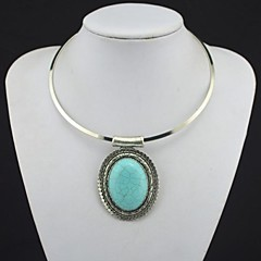 Toonykelly Vintage Tebiet Alloy Antique Silver Plated Flower Turquoise Collar Necklace(1 Pc)