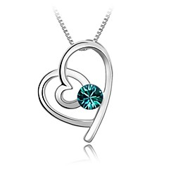 Think Alike Girls Short Necklace Plated With 18K True Platinum Blue Zircon Crystallized Austrian Crystal Rhinestone