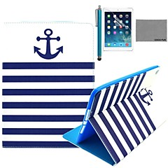 COCO FUN® Navy Blue Anchor Pattern PU Leather Flip Stand Case with Screen Protector and Stylus for Apple iPad Air 2/3/4