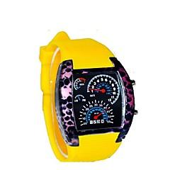 cadran en alliage unisexe surface céramique mètre auto bracelet en silicone affichage LED montre-bracelet étanche (couleurs assorties)