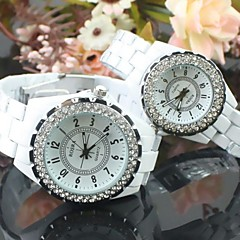 Couple's Round Dial Ceramic Band Quartz Fashion Watch (Assorted Colors)