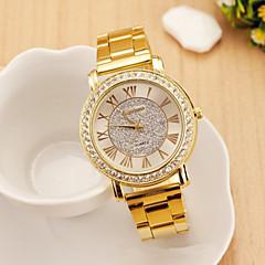 stile di moda femminile rosa fascia in acciaio inox orologio analogico al quarzo in oro