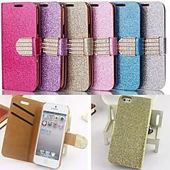 estilo pó glitter couro pu corpo inteiro com slot para cartão e suporte para iPhone 5 / 5s (cores sortidas)