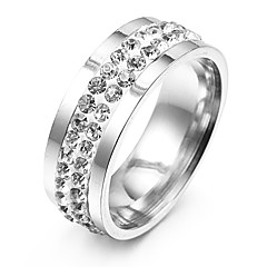 Fashion Double Lines Zircon Silver Stainless Steel Band Rings(1 Pc)