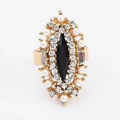 European Style Fashion Exquisite Rhinestone Pearl Adjustable Ring