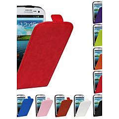 flip-aberto grão cavalo de couro pu caso de corpo inteiro para Samsung Galaxy S3 i9300 (cores sortidas)