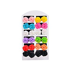 12 Pairs Assorted Color Resin Flower Stud Earrings on a Card