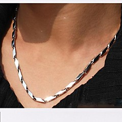 4.0mm*55cm  European Rhombus Titanium Steel Chain Necklace(Silver) (1 Pc) Jewelry Christmas Gifts