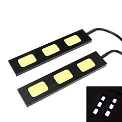 GC® 2Pcs 10cm 9W 3x COB 900LM 8000K Cool White Light LED for Car Daytime Running Light (DC 12V)