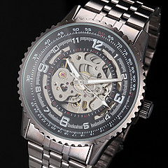 Men's Auto-Mechanical Fashion Hollow Dial Black Steel Band Wrist Watch Cool Watch Unique Watch