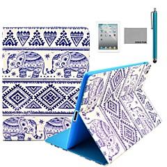 coco fun® elefant tribal mönster pu läderflipställ fallet med skärmskydd och penna till Apple iPad 2/3/4