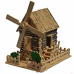3D Wooden Country Windmill Model