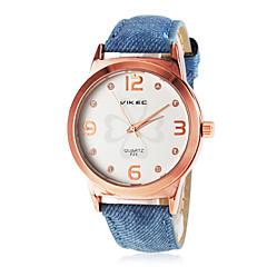 Gold Klee Muster Frauen wählen PU-Band Quarz-Armbanduhr (farbig sortiert)