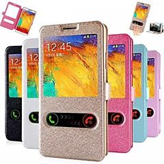 janelas duplas de seda padrão de couro caso de corpo inteiro com slot para cartão para Samsung Galaxy nota 3 (cores sortidas)