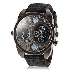 męski styl militarny podwójny czas nadgarstka zegarek kwarcowy zespół tkanin