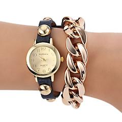 kvinnors rund urtavla nit guldkedja pu-bandet kvarts armband klocka (blandade färger)