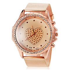Women's Round Diamante Case Heart Pattern Dial Alloy Band Quartz Wrist Watch Cool Watches Unique Watches Fashion Watch