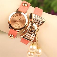 ronda boutiqu bowknot cuero colgantes epearl moda de cuarzo japonés de las mujeres del reloj colores surtidos
