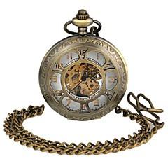 seis aleación de esfera redonda en forma de flor de bolsillo mecánico waistchain ahuecado reloj unisex pátina verde (1pc)