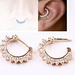 ventas calientes circón anillo en la nariz clicker tabique oro abierta aro trago barra pendiente joyería del cuerpo