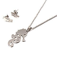 Fashion Sea Horse Shape Silver Stainless Steel Jewelry Set(1 Set)
