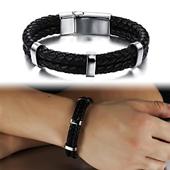 Leather Woven Titanium Steel Magnetic Buckle Men's Bracelet Christmas Gifts