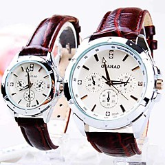 Couple's Round Dial Three Eyes Six Needle PU Band Quartz Fashion Watch (Assorted Colors)