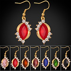 새로운 유행 18K 골드가 고급스러운 패션 보석 모조 다이아몬드 CZ 다이아몬드 매달려 귀걸이를 도금 7 색