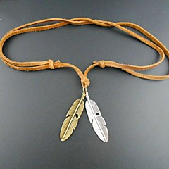 European Feather Leather Pandant Necklace(1pc)
