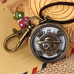 Unisex Cartoon Pirate Pattern Round Dial Leather&Alloy Quartz Necklace /Keychain Watch Green Patina (1Pc)