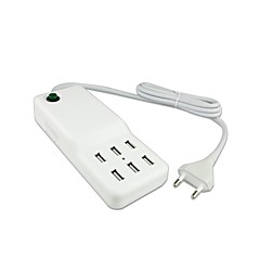 6 usb-poort desktop lader power adapter voor iPhone / iPad en anderen (60w, 100 ~ 240v, DC5V 12a, eu stekker, 1,5 m)