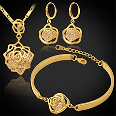 Biżuteria Ustaw Cyrkonia Cyrkon Cyrkonia Powłoka platynowa Pozłacane Silver Golden Zestawy biżuterii Ślub Impreza Codzienny Casual Sport