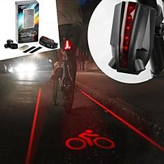 6-tryb 5-led 2 linie proste laser czerwony ogon ostrzeżenie rower lekki (2xAAA czarny)