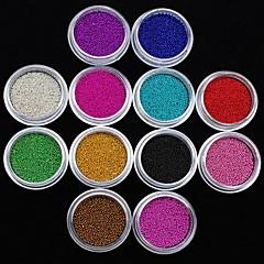 12pcs colores caviar uñas decoración del arte