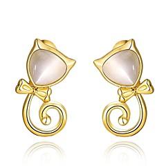 Fashion Opal Lovely Cat Golden Gold-Plated Stud Earrings (Golden)(1Pair)