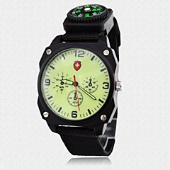 Men's Watch Military Luminous Dial Fabric Band Sports Wrist Watch 3ATM Waterproof