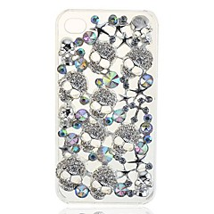 Lureme® Fashion Luxury Bling Crystal 3D Skull Head Case Cover For iphone4/4S